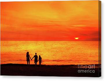 Canvas Print featuring the digital art Sunset On The Beach by Randy Steele