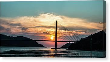 Sunset On The Bridge Canvas Print