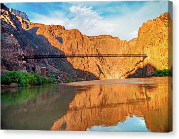Sunset On The Colorado At Grand Canyon Canvas Print by Steven Barrows