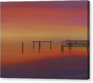 Sunset On The Dock Canvas Print by Dan Sproul
