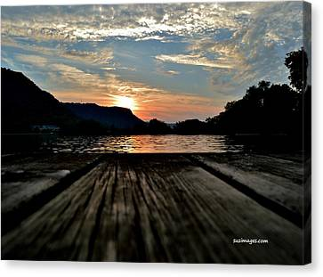 Sunset On The Dock Canvas Print