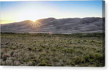 Canvas Print featuring the photograph Sunset On The Dunes by Monte Stevens