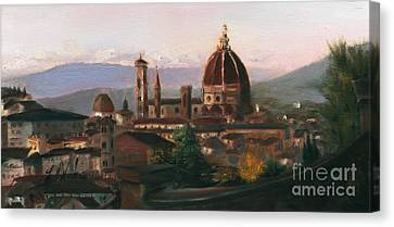 Sunset On The Duomo Canvas Print by Leah Wiedemer
