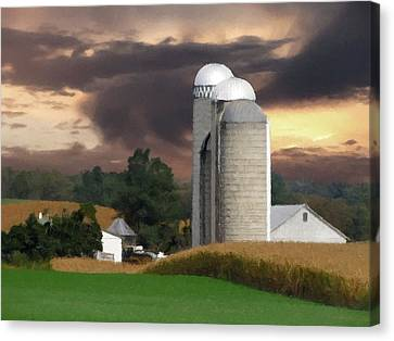 Canvas Print featuring the photograph Sunset On The Farm by David Dehner
