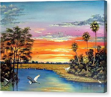 Sunset On The Glades Canvas Print by Riley Geddings