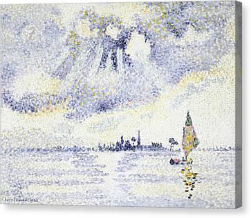 Sunset On The Lagoon, Venice Canvas Print by Henri-Edmond Cross
