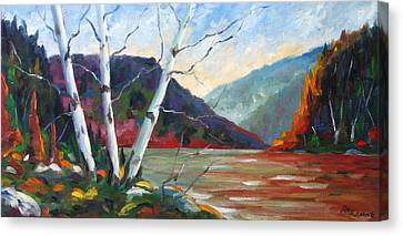 Sunset On The Lake Canvas Print by Richard T Pranke