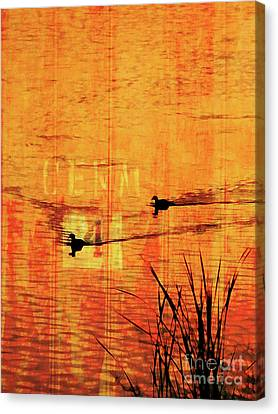 Sunset On The Lake Canvas Print by Robert Ball