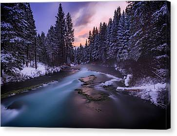 Canvas Print featuring the photograph Sunset On The Metolius by Cat Connor