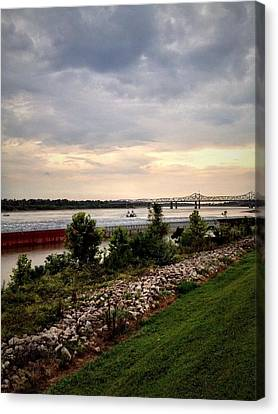 Sunset On The Mississippi Canvas Print by Jen McKnight