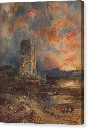 Sunset On The Moor Canvas Print by Thomas Moran