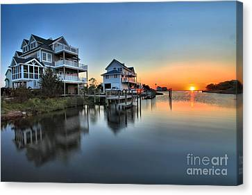 Sunset On The Obx Sound Canvas Print by Adam Jewell