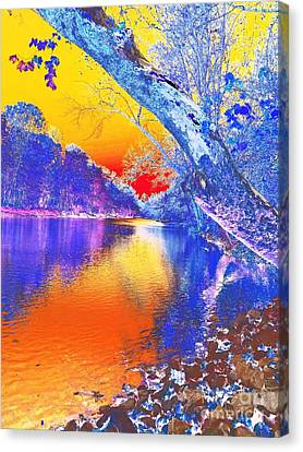 Sunset On The River Abstract Canvas Print