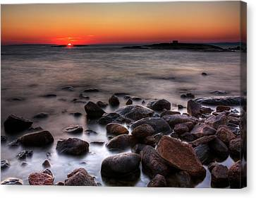 Sunset On The Rocks Canvas Print by Brian Boudreau