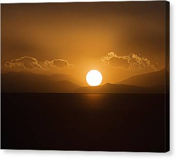 Canvas Print featuring the photograph Sunset On The Salar by Ron Dubin