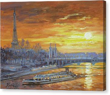 Canvas Print - Sunset On The Seine, Paris by Irek Szelag