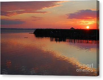 Sunset On The Sound Canvas Print by Linda Mesibov
