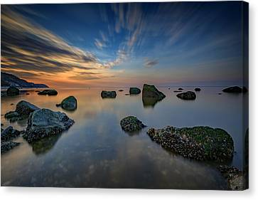 Sunset On The Sound Canvas Print by Rick Berk