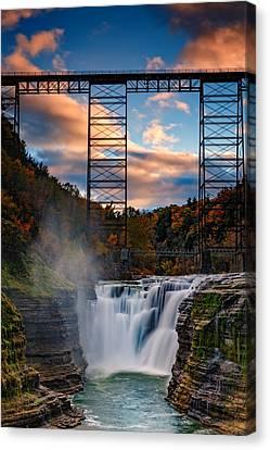 Sunset On The Upper Falls Canvas Print by Rick Berk