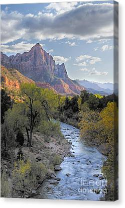Sunset On The Watchman Canvas Print by Sandra Bronstein
