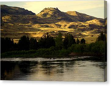 Sunset On The Yellowstone Canvas Print by Marty Koch