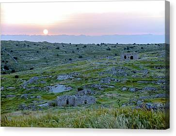 Sunset Over A 2000 Years Old Village Canvas Print