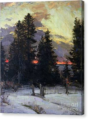 Sunset Over A Winter Landscape Canvas Print by Abram Efimovich Arkhipov