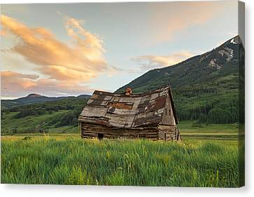 Sunset Over An Abandoned Cabin Canvas Print