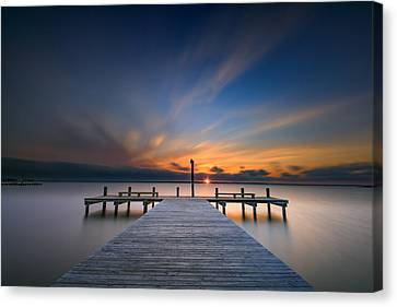 Glowing Canvas Print - Sunset Over Barnegat Bay by Rick Berk