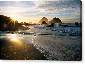Sunset Over Beach Scene Canvas Print by Panoramic Images