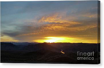 Sunset Over Black Canyon And River #1 Canvas Print by Heather Kirk