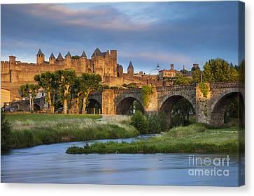 Sunset Over Carcassonne Canvas Print by Brian Jannsen