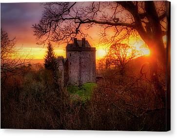 Canvas Print featuring the photograph Sunset Over Castle Campbell In Scotland by Jeremy Lavender Photography
