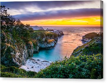 China Cove Canvas Print - Sunset Over China Cove by David Gilliland