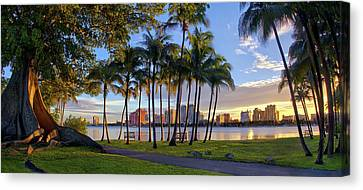 Sunset Over Downtown West Palm Beach From Palm Beach Island Canvas Print by Justin Kelefas