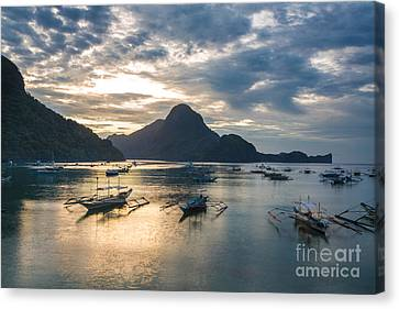 Sunset Over El Nido Bay In Palawan, Philippines Canvas Print