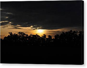 Sunset Over Farm And Trees - Silhouette View  Canvas Print