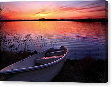 Sunset Over Finnish Lake Canvas Print by Sandra Rugina