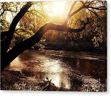 Sunset Over Flat Rock River - Southern Indiana Canvas Print by Scott D Van Osdol