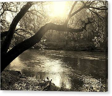 Sunset Over Flat Rock River - Southern Indiana - Sepia Canvas Print