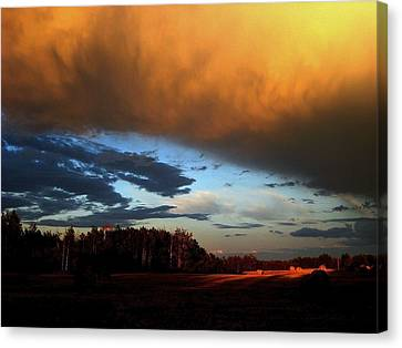 Sunset Over Hayfield Canvas Print by Shirley Sirois