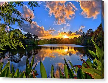 Sunset Over Hidden Lake In Jupiter Florida Canvas Print