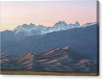Sunset Over Star Dune And The Crestone Group Canvas Print by Aaron Spong