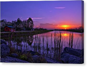 Sunset Over Hungryland Wildlife Management Area Canvas Print by Justin Kelefas
