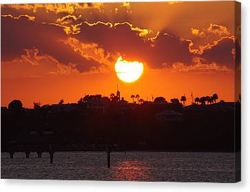 Canvas Print featuring the photograph Sunset Over Jensen by Don Youngclaus