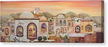 Sunset Over Jerusalem Canvas Print by Michoel Muchnik