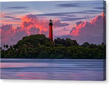 Canvas Print featuring the photograph Sunset Over Jupiter Lighthouse, Florida by Justin Kelefas
