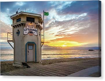 Canvas Print featuring the photograph Sunset Over Laguna Beach Lifeguard Station by Cliff Wassmann