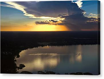 Sunset Over Lake Canvas Print by Carolyn Marshall