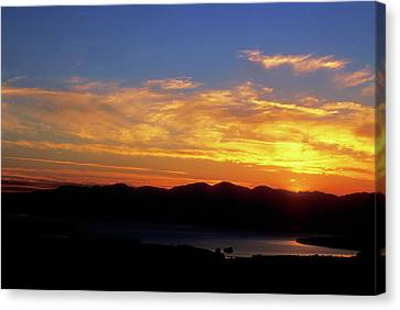 Sunset Over Lake Champlain From Mount Philo Canvas Print by John Burk